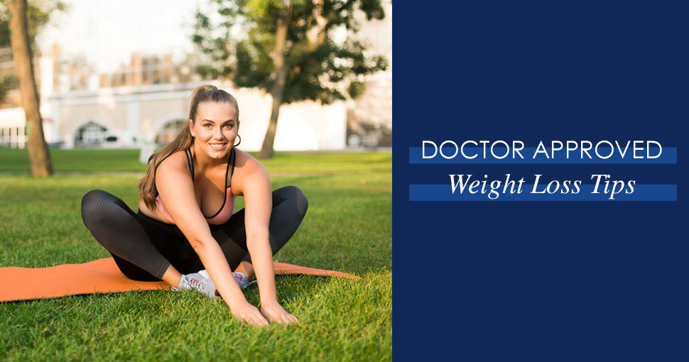 """Brunette woman on orange yoga mat smiling. Copy reads """"Doctor Approved Weight Loss Tips""""."""