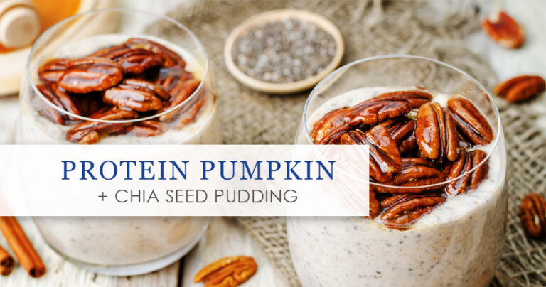 Protein pumpkin + Chia Seed Pudding graphic.